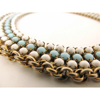 Vintage Tifffany blue, White, and Gold Collar Necklace