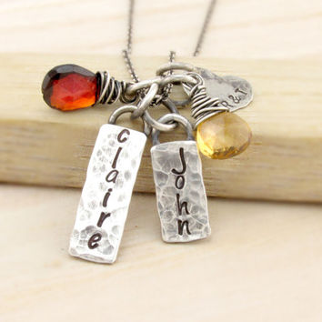 Personalized Rustic Mom Necklace - Family Jewelry - Antiqued Silver Necklace - Gemstone Birthstones - Heart Charm with Initials - Hammered