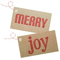 merry / joy letterpress on chipboard gift tags - 4 pack