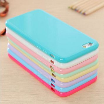 USLION Solid Candy Color TPU Soft Rubber Skin Cover Phone Case for Apple iphone 6 6s Case For iPhone 8 7 6 Plus