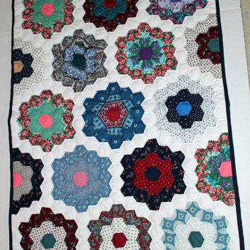 Handmade Flower Garden Quilt hand quilted wall hanging doll quilt table runner size
