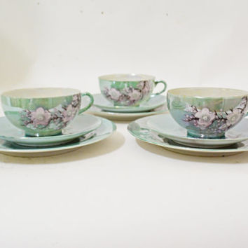 Asian Cups Saucers, Vintage Japanese, Lusterware Teal Blue Tea, Japanese Tea Set, Hand Painted Cups, Teal Cup Set, Japanese Tea Cup