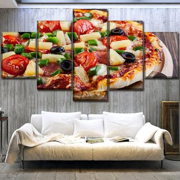 High Quality Canvas Food Poster Wall Art HD Print Modular Picture Kitchen Restaurant Home Decor 5 Piece Pizza Painting Framework