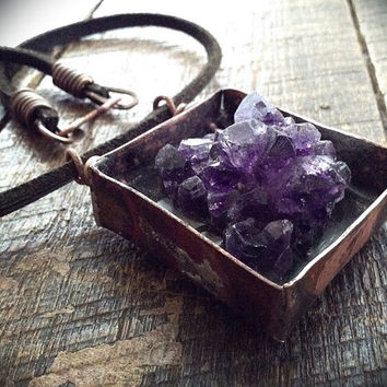 Amethyst cluster necklace: raw amethyst, raw crystal jewelry, purple amethyst, amethyst cluster,  rustic necklace, shadowbox necklace