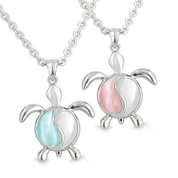 Yin Yang Turtles Love Couple White, Aqua Blue Candy Pink Cats Eye Pendant Necklaces