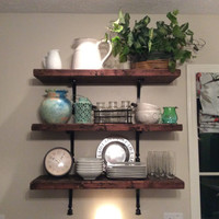 Wooden shelves, reclaimed distressed, rustic, kitchen, living room, handmade