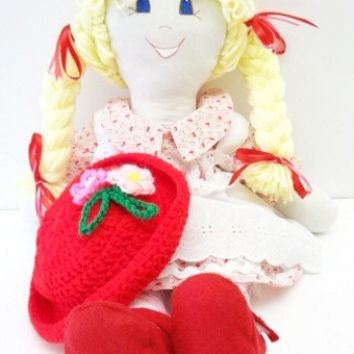 yellow blond braids blue eyes pink red dressable cloth rag doll, hand made rag dolls, rag doll handmade, ragdoll  NF125