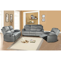 Beverly Fine Furniture Denver 3 Piece Microfiber Reclining Living Room Set