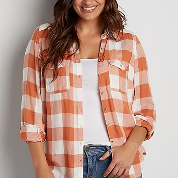 plus size button down buffalo plaid shirt in orange | maurices