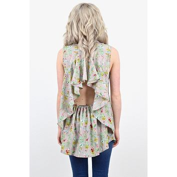 Open Back Floral Ruffle Tank {Grey}
