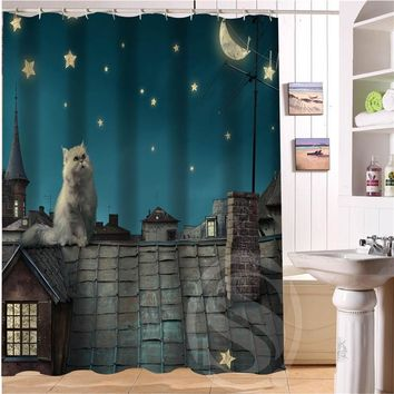Custom Popular Cat Shower Curtain - Waterproof Shower Curtain