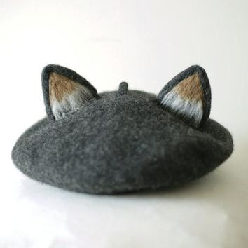 Princess sweet lolita Hat vintage handmade fox cat's ear hat true real woolen warm winter beret manual wool beret MZ14