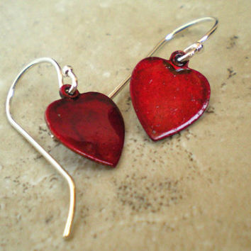 Heart Earrings: Red Heart - Romance - Heart Jewelry - Copper Jewelry - Dangle Earrings - Valentine Heart - Sterling Silver - Valentine Gift