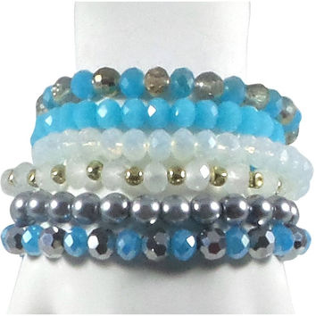 Stretch Bracelet Set of 6 Individual Handcrafted Glass Beads with Tassel (Turquoise)