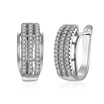 Swarovski Crystal Three Row Lined Huggies Set in 18K White Gold