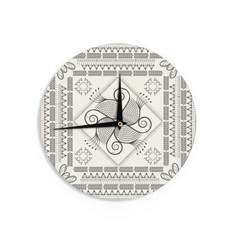 "Famenxt ""Paisley Into The Dream"" Beige Pattern Wall Clock"
