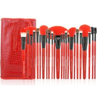 Red 24-Piece Essential Brush Collection
