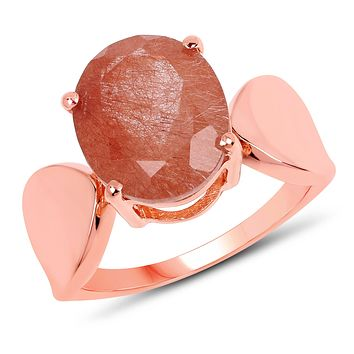 A Special Edition Natural 14K Rose Gold 4.5CT Oval Cut Red Rutile Ring