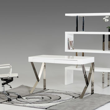 Modrest Ferris Modern White Lacquer Office Desk  VGBBMD153-WHT