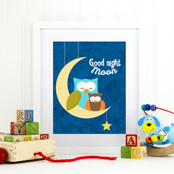 Children's Wall Art, Nursery Decor, Good Night Moon Print, good night moon art, nursery art, baby nursery wall decor, nursery poster, B-1039