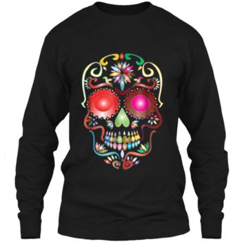 Colorful Sugar Skull  for Mexican Day Of The Dead LS Ultra Cotton Tshirt