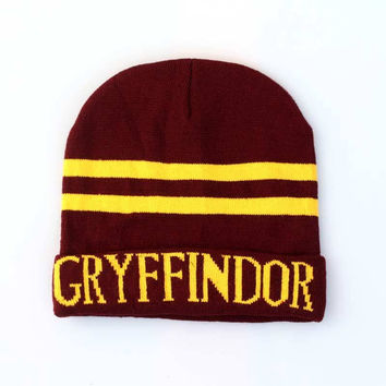 Harry Potter Gryffindor Knitted Stripped Beanie Preppy Costume Halloween Christmas Gift Red & Yellow Cuffed Skully Hat