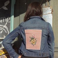 Medium Needlepoint Embellished Denim Jacket,Eco-Fashion,Upcycled Jacket
