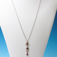 Glass Amethyst Pendant Necklace Transitional Edwardian Gold Filled Chain