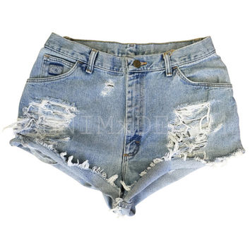 Levis High Waisted Denim Shorts Low Rise Wrangler Distressed Shredded Hipster Soft Grunge Festival Clothing