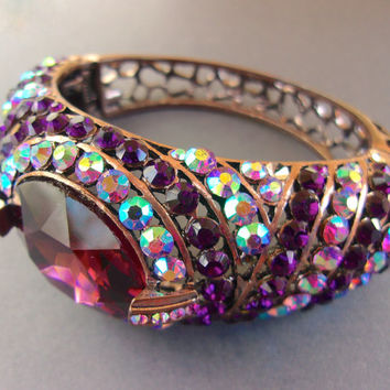 Purple and AB Rhinestone Hinged Cuff Bracelet, Copper Tone, Open Work Band, Vintage
