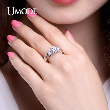 UMODE Hot Classic Three Stone Engagement Rings White Gold Color 1ct Main Cubic Zirconia Wedding Rings Jewelry Anel UR0337
