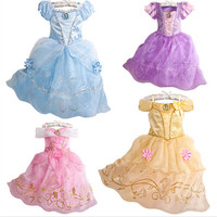 Kids Clothes 2015 Spring/Summer Kids Dress Girls Butterfly Dresses Blue Princess Girl Party Dresses Lace dress Cosplay Costume for Girls