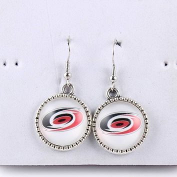 Sport Carolina Hurricanes Florida Panthers Earrings Ice Hockey Charms Glass Cabochon Dangle Earrings for Women Dropshipping