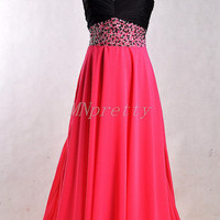 Unique Hot Red Sweetheart Beaded Prom Dresses,Long A Line Chiffon Party Grown Prom Dresses,Homecoming Dresses,Formal Party Grown