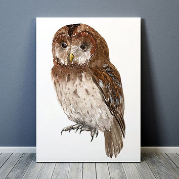 Owl print Tawney owl poster Watercolor art Bird print ACW970