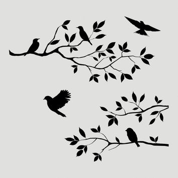 Birds Branch Tree Stencil Wall Wood Sign Crafts Jennastencils PAINTMASK