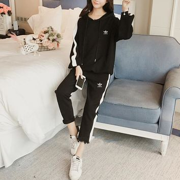 """ Adidas"" Women Casual Fashion Multicolor Long Sleeve Hoodie Sweater Trousers Set Two-Piece Sportswear"