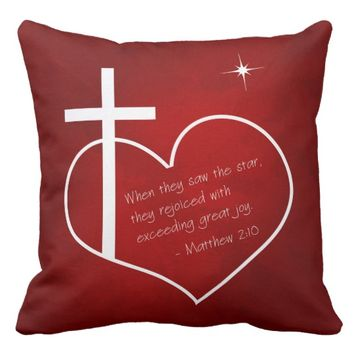Christian Merry Christmas red and blue Throw Pillow