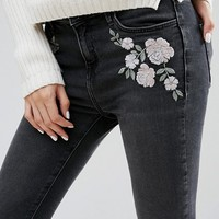 New Look Petite Embrodiered Skinny Jean at asos.com