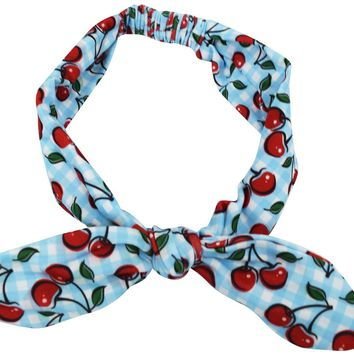 60's blue gingham check and cherry printed Campus Elastic Headband