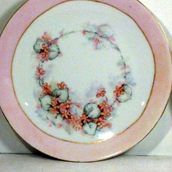 Lovely Vintage Bavarian China Plates - Pastel Pink and Yellow Flowered Plates - Gift Idea - Tea Party - Shabby Chic, Cottage Decor