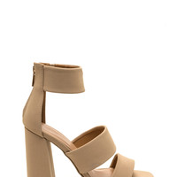 Squared Away Strappy Faux Nubuck Heels
