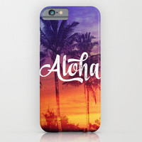 Aloha Tropical Beach Sunset Palm Trees iPhone & iPod Case by Hyakume