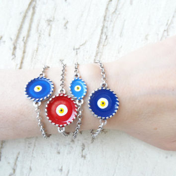 Evil eye bracelet , Navy Blue Blue Evil Eye Bracelet,  Gift For Mothers, best Friend Birthday, Turkish Jewelry Style Bracelet,