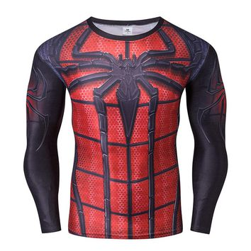 Spiderman T-shirt Men Long Sleeve Fitness 3D Printed Compression Crossfit Tee Cosplay Costume US Shipping