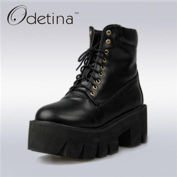 Odetina 2017 New Spring Platform Ankle Boots Women Lace Up Thick Sole Martin Boots Vintage Wedges Shoes High Heel Big Size 33-43