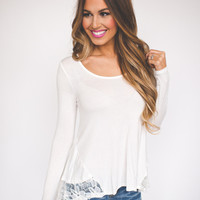 Lace Bottom Top- Ivory
