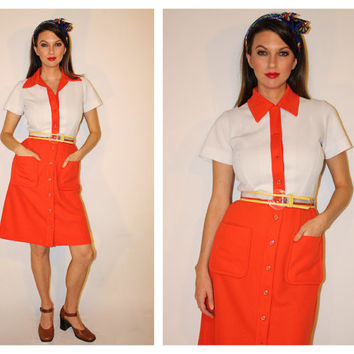 Vintage Mod Short Sleeve Dress, Orange + White Dress, Hooters Girl / Flight Attendant Stewardess / Diner Waitress Costume