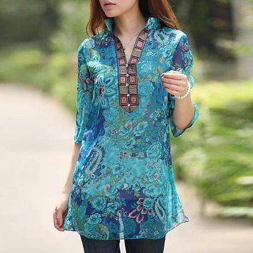 Large Size 5xl Women's Chiffon Blouse Floral Print Half Sleeve Stand Collar Loose Shirt Blouse Female Summer Casual Tops