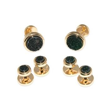 ChristineDarren 22K Gold-Plated 5.5mm Round Black Drusy Tuxedo Studs and 11.5mm Cufflinks Set